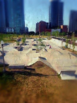 A skate park in Grant Park, near the famous Agora